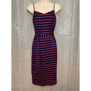 Ann Taylor Red & Navy Striped Nautical Dress 0P